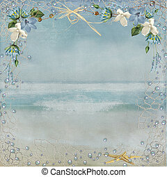 nautical border on ocean background - Nautical netting with...