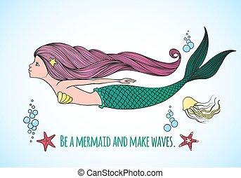 Nautical card with cute Mermaid undersea world.