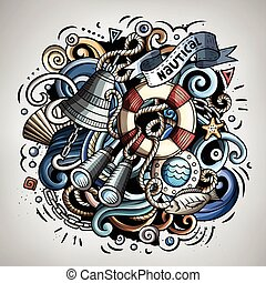 Nautical cartoon vector doodle illustration