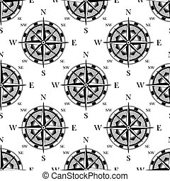 Nautical compass black and white seamless pattern