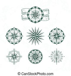 Nautical compass. Marine wind rose for maps. Vintage style vector illustrations