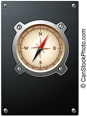 Nautical compass on metal plate