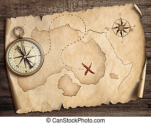 nautical compass on table with old treasure map 3d illustration
