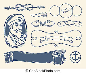 Nautical decoration set over white - Set of vintage nautical...