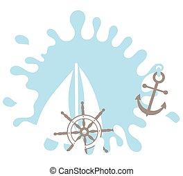 Nautical design element. Rudder. Splash. Anchor. Design...