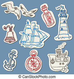 Nautical doodles on Torn Paper- Hand drawn collection in...