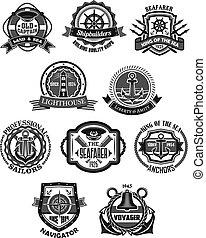 Nautical emblem and marine heraldic badge set