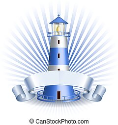 Nautical emblem with Blue lighthouse