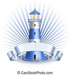 Nautical emblem with Blue lighthouse