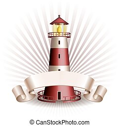 Nautical emblem with Red lighthouse and ribbon. Marine...