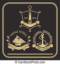 Nautical emblems and signs with vessel, light house and anchor