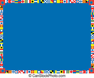 Nautical Flag Border - red, white and blue nautical flags...