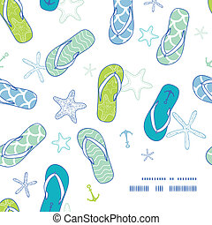 Nautical flip flops blue and green frame corner pattern background