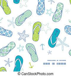 Nautical flip flops blue and green frame corner pattern...
