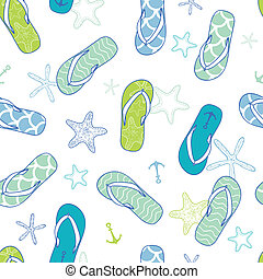 Nautical flip flops blue and green seamless pattern background