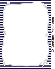 Nautical rope frame with navy and white striped background