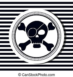 nautical frame with pirate skull