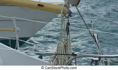 Nautical Hawser and Ropes - Yacht hawsers and ropes on a...