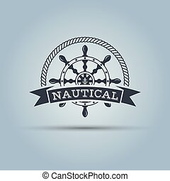 Nautical helm wheel with ribbon for text vector template
