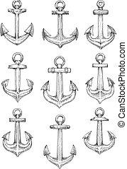 Nautical heraldic sketch symbols of retro anchors