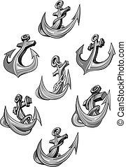 Nautical heraldic vector icons of ship anchor
