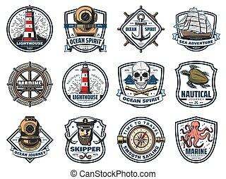 Nautical heraldry, vector marine isolated icons