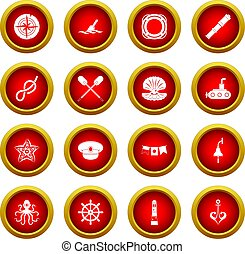 Nautical icon red circle set