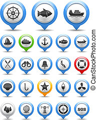 Set of nautical and fishing icons, vector eps10 illustration