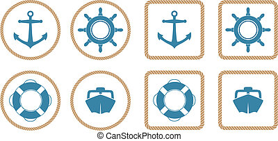 Nautical Icons - A set of 4 nautical icons or buttons with a...