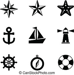 Nautical Icons - A set of 9 nautical-themed icons. Each icon...