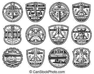 Nautical icons, marine seafarer ship, anchor, helm - Marine ...