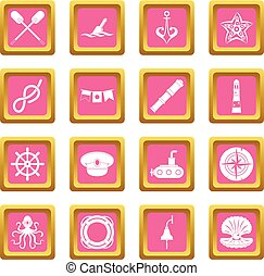 Nautical icons pink