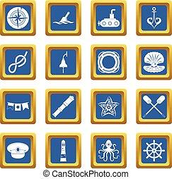 Nautical icons set blue