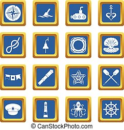 Nautical icons set blue