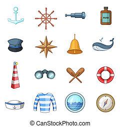 Nautical icons set, cartoon style - Nautical icons set....