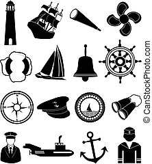 Nautical icons set