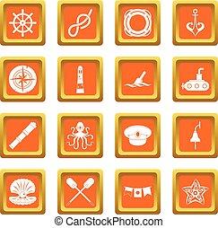 Nautical icons set orange