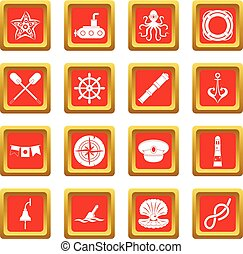 Nautical icons set red