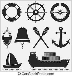 Silhouettes of nautical objects, vector eps10 illustration