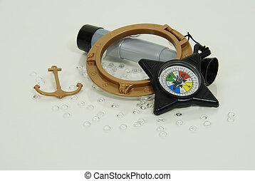 Nautical Port Hole and anchor, Compass used for navigational purposes, Telescoping telescope used to see distances
