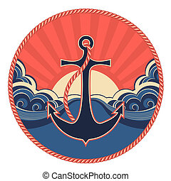 Nautical label with anchor and abstract sea waves. Vector illustration