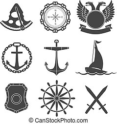 Nautical labels, icons and design elements