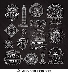 nautical labels on chalkboard background
