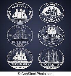 Nautical labels white - Set of nautical and maritime...