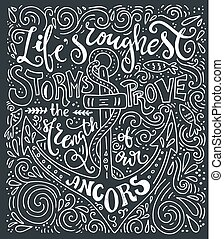 Nautical Lettering - Handdrawn lettering - life's roughest...