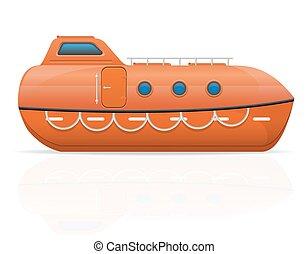 nautical lifeboat vector illustration isolated on white ...