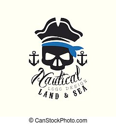Nautical logo design, land and sea retro emblem with marine elements for nautical school, sport club, business identity, print products vector Illustration on a white background