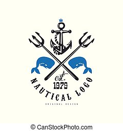 Nautical logo original design est 1979, retro emblem with marine elements for nautical school, sport club, business identity, print products vector Illustration on a white background