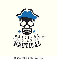 Nautical logo original design, retro emblem for nautical school, sport club, business identity, print products vector Illustration on a white background