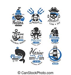 Nautical logo original design set, retro badges for nautical school, sport club, business identity, print products vector Illustration on a white background